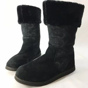 Coach joss suede Ugg style boots woman's black